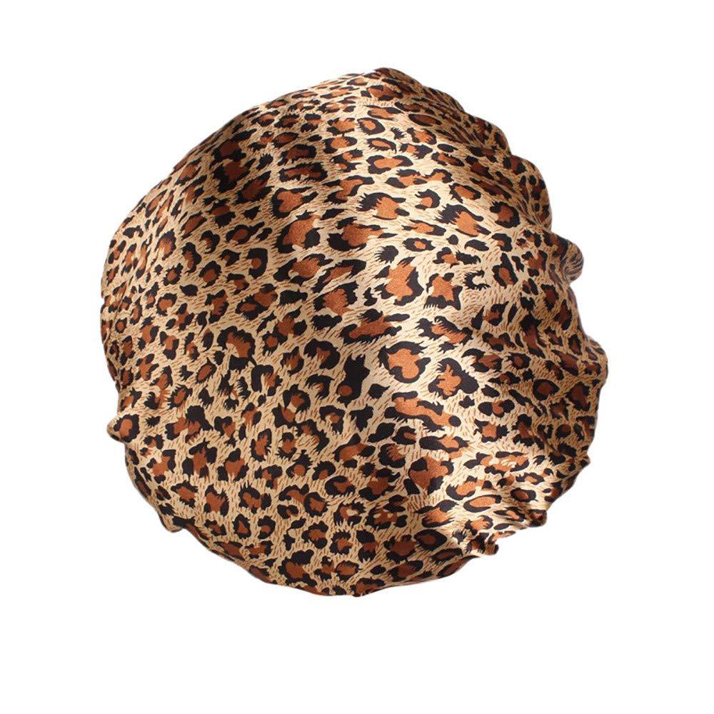 ✿✿Ratoop✿✿Women's Satin Floral Wide-Brimmed Hair Band Sleep Cap Muslim Hat Hair Cap