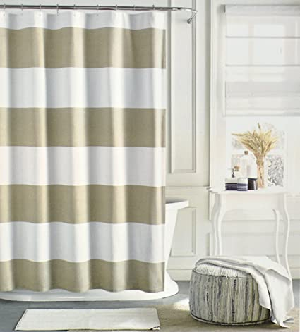 Tommy Hilfiger Cotton Shower Curtain Wide Stripes Fabric Beige Tan Cabana Stripe