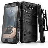 Samsung Galaxy J7 Prime Case, Zizo [Bolt Series] w/ [Galaxy J7 Prime Screen Protector] Kickstand [12 ft. Military Drop Tested] Holster - J7 V / Perx Black/Black