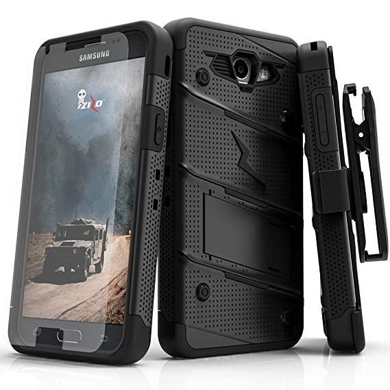 premium selection c5d98 75f33 Samsung Galaxy J7 Prime Case, Zizo [Bolt Series] w/ [Galaxy J7 Prime Screen  Protector] Kickstand [12 ft. Military Drop Tested] Holster - J7 V / Perx ...
