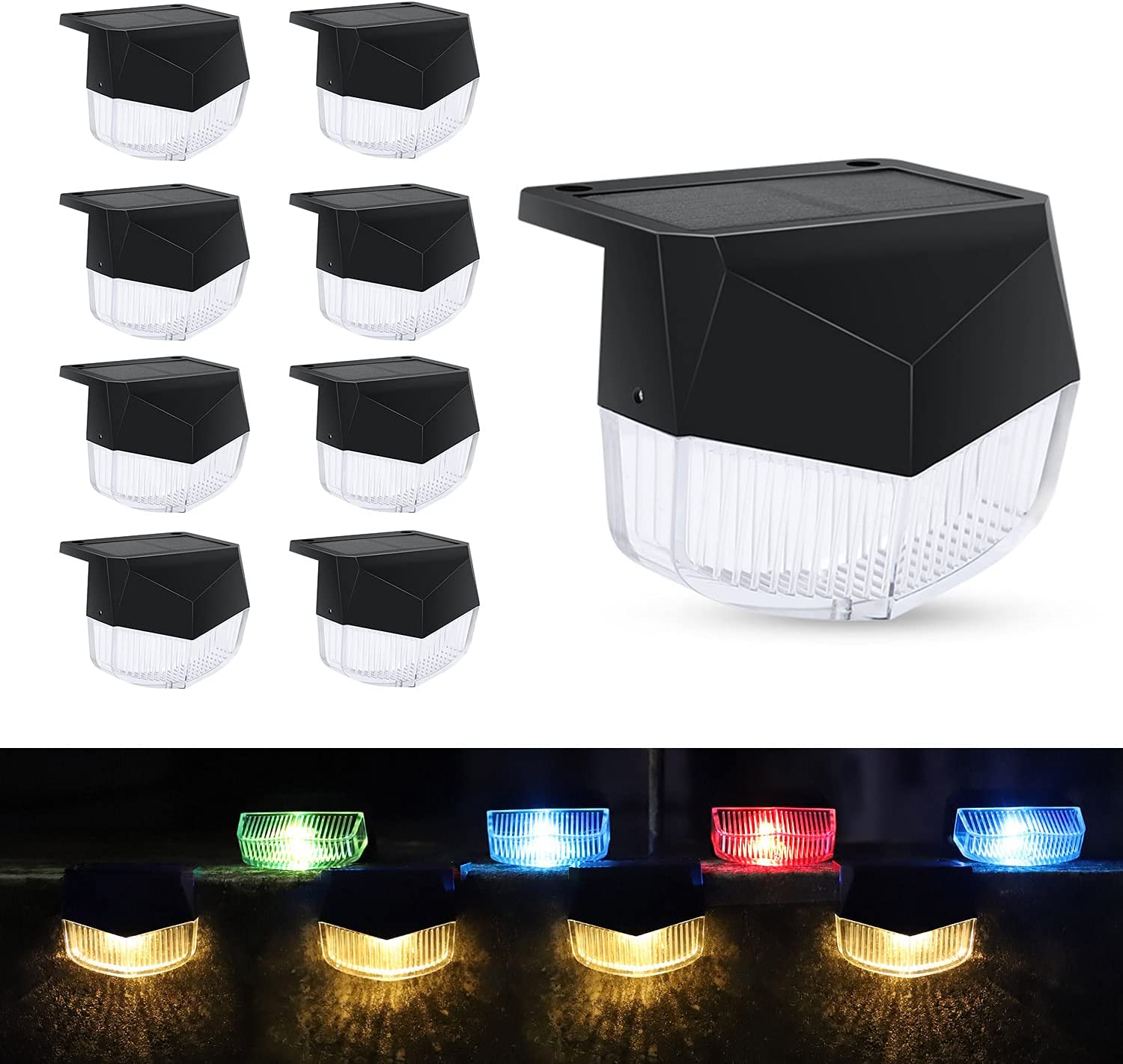 Solar Deck Lights Outdoor, 8 Pack Waterproof Solar Powered Charging Deck Lights Fence Lights for Post Led Step Stair Pool Backyard Garden Patio Porch para Deck Railings Color Decorative Lighting
