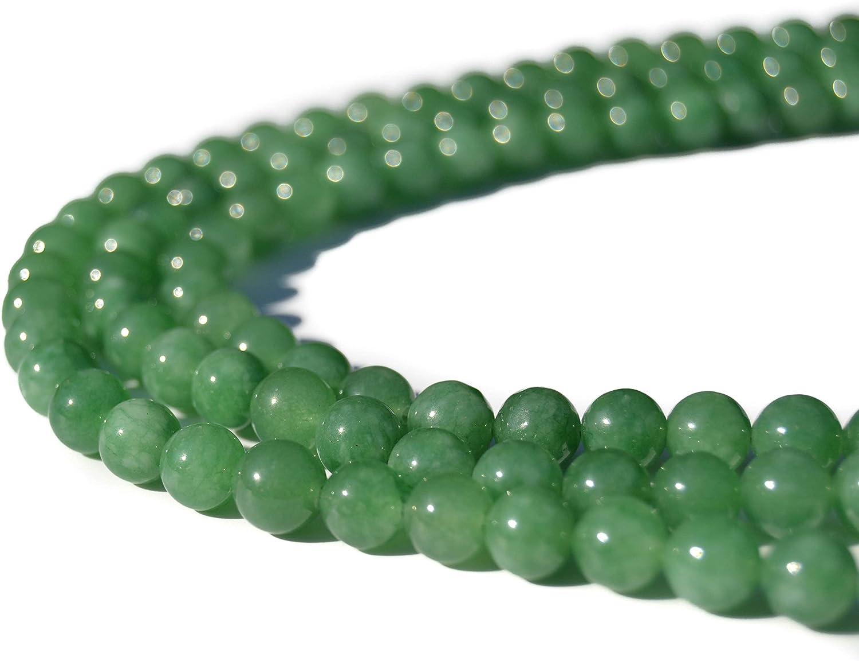 Abalorios o Cuentas para hacer Pulseras, Collares, DIY de Piedras Naturales Yoga, Reiki, 7 Chakras, Gemoterapia, Aromaterapia, Litoterapia (Pack de 3 hilos) (8mm, jade verde)