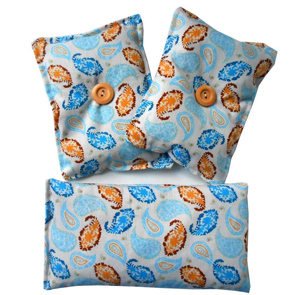 1 Oreillers pour les yeux 'Blue House' (20x10cm) + 2 Mini oreiller 'Dormez bien' (13x10cm) bourrés de graines de lavande bio – Graines de Lavande - Yoga, méditation, relaxation, reposer des yeux... méditation