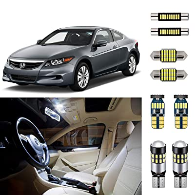 AUTOGINE Super Bright 6000K White LED Interior Light Bulbs Kit Package for 2003-2012 Honda Accord + Install Tool: Automotive