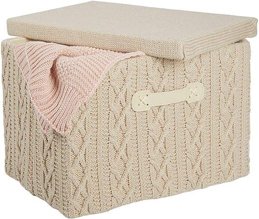 mDesign Caja organizadora mediana con tapa y asa – Organizador de armario apilable en poliéster con aspecto tricotado – Caja plegable para baño, dormitorio o habitación infantil – beis y natural: Amazon.es: Hogar
