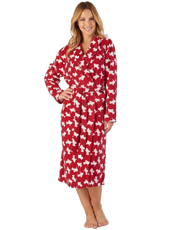 TALLA M. Slenderella HC2308 Women's Multi Print Microfleece Robe Loungewear Bath Dressing Gown