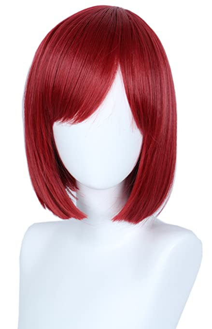 Linfairy Peluca de cosplay unisex recta roja para disfraz de ...