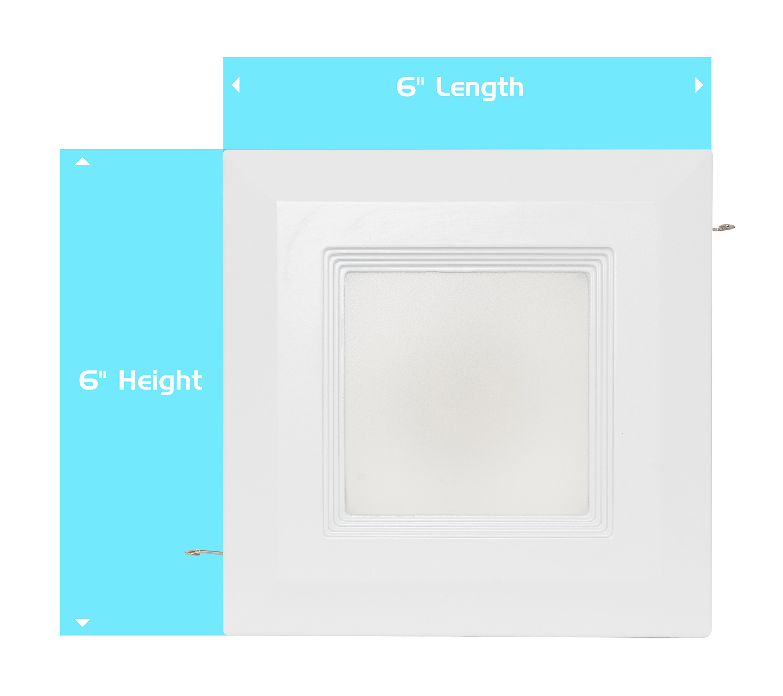 Westgate 15 Watt 6'' Inch Recessed Lighting Kit With Baffle Trim - Square Shaped LED Retrofit Downlight - Premium Dimmable Light Fixture - Best Ceiling Lights - ETL Listed (4100K Cool White, 8 Pack) by Westgate (Image #6)