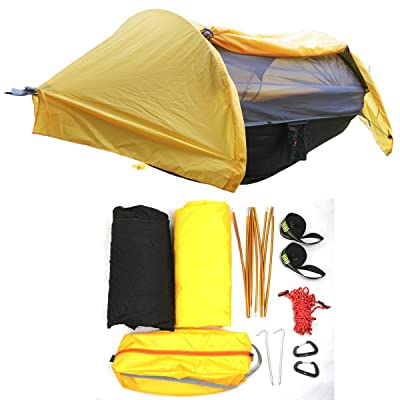 HongXingHai 3 in 1 Hammock with Mosquito Net and Rain Fly Outdoor Hammocks Tents for Camping Backpacking Hiking (Orange, L): Sports & Outdoors