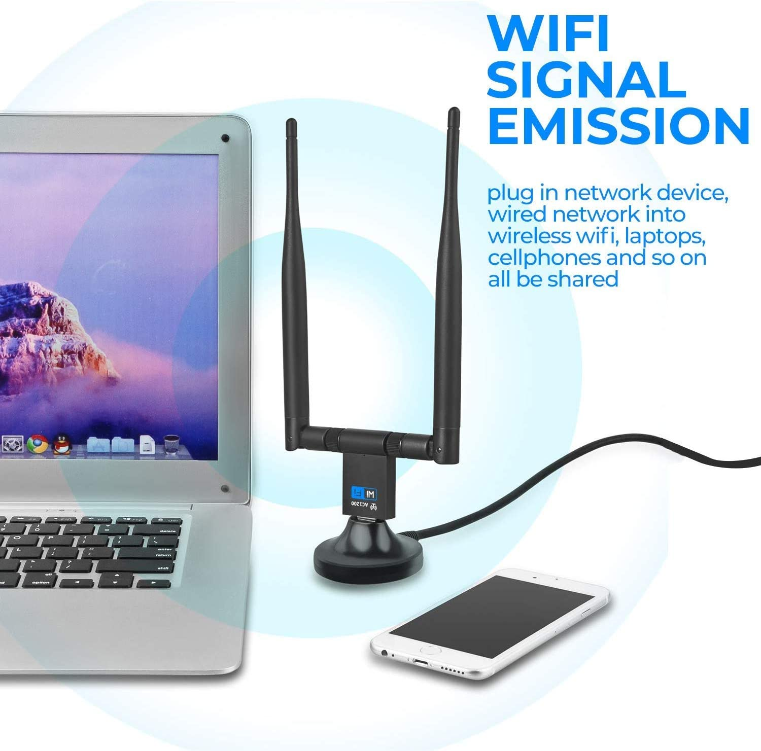 USB WiFi Adapter for PC Latest Long Range Stable Signal 1200Mbps Wireless WiFi Dongle USB 3.0 2.4G//5G 802.11ac Network Adapter with Dual Antenna for Windows XP//10//8//8.1//7//Vista Mac 10.6-10.15,Linux