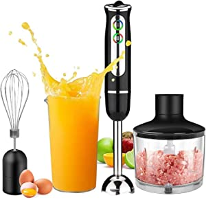 Immersion Hand Blender 4-in-1,Powerful 500W 8-Speed Stainless Steel Stick Blender with Egg Whisk, 2-Blades 860ml Chopper and 600ml Beaker with Lid,Detachable
