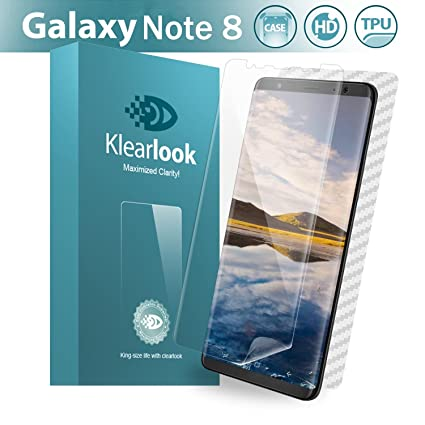 quality design d007b 6c996 Galaxy Note 8 Screen Protector, 2 Pieces Klearlook Wet Applied  [Non-Glass][Case Friendly] Screen Protector + 1 Piece Back Carbon Fiber  Skin Sticker ...