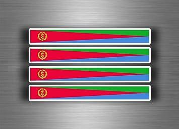Akachafactory 4 X Selbstklebend Sticker Auto Moto Stripes Flagge Tuning Erythree Eritrea Auto