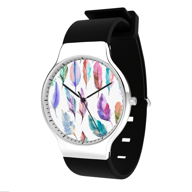 FELOOWSE Feather Watch Men's Quartz Watches, Minimalist Slim Japanese Quartz Youth Silicone Watches, Fashion PracticalWaterproof Boys Watch Customized Watches