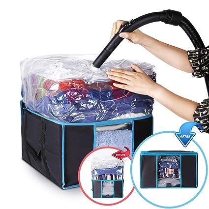 ISENPENK Bolsa al Vacío con Caja de Almacenamiento Reutilizables Caja de Almacenaje con Cremallera Bolsas al Vacío Protector para para Edredones, ...