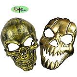 Happlee 2pcs/Set Halloween Masquerade Mask, Human skeleton Mask with Elastic Band