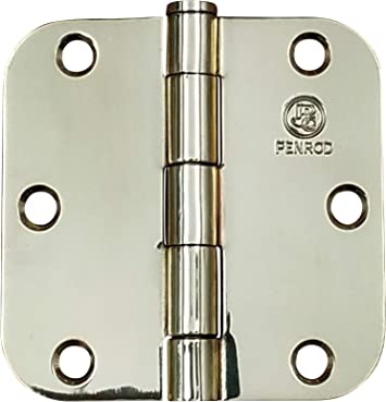 2 Pack Ball Bearing Polished Brass Door Hinges 3.5 inch with 5//8 inch Radius Corner