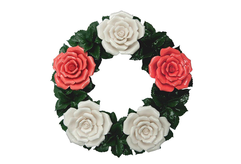 Couronne florales en Céramiques - Accessoire pour Cimetière ou Maison - Fleurs Funéraire - Tombe Fleurs - Fleurs de Cimetière - Art floral - Roses en porcelaine - imperméable