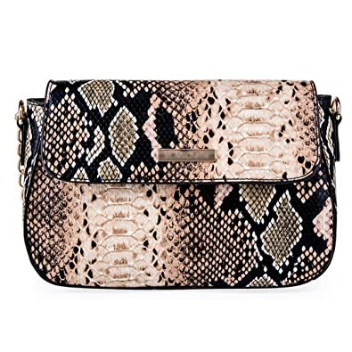 b16d1401e0 YAOSEN Women Snakeskin Pattern Shoulder Bag PU Leather Magnet Tote Bag  Crossbody Bag (Brown)