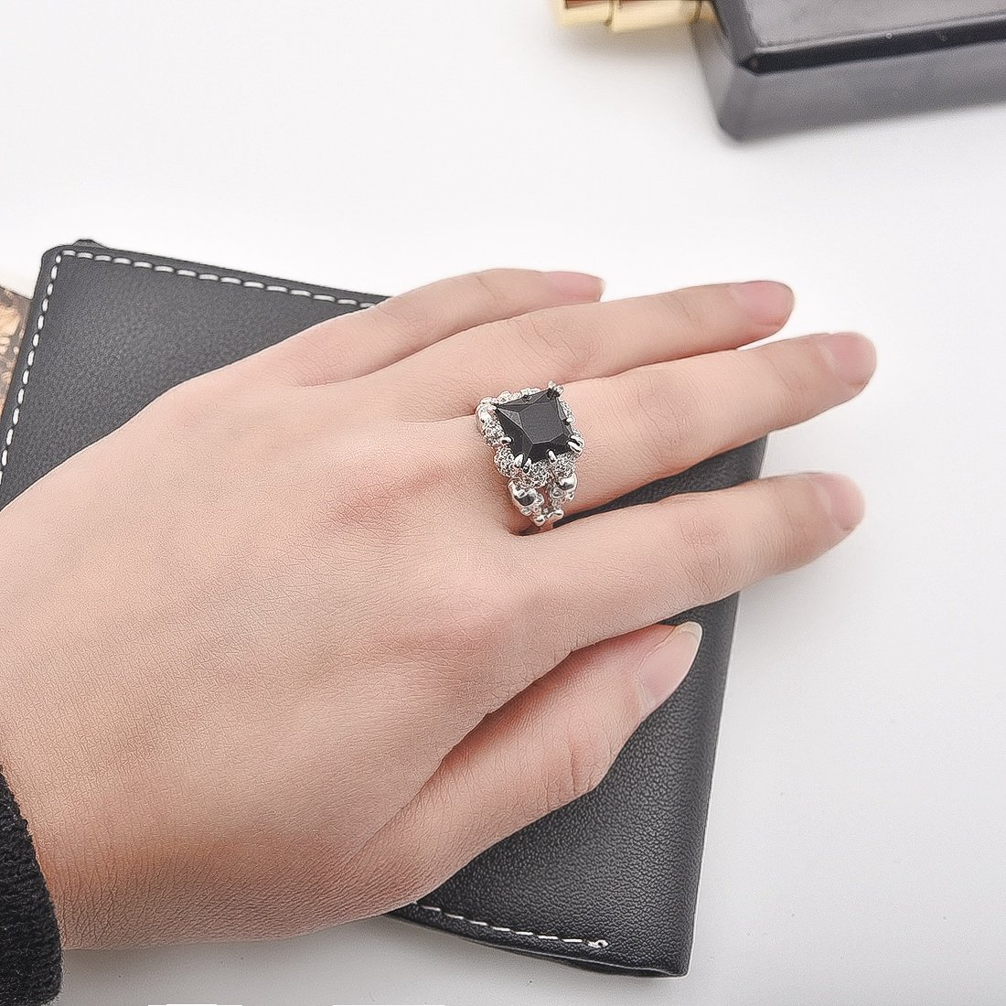 Amazon.com: OBSEDE Black Skull Ring Cubic Zirconia Rings for Women ...