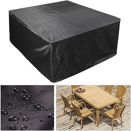 Funda para Muebles de Jardín, Muebles de Jardín de Mimbre 210D Oxford Poliéster Fundas Muebles Jardin Exterior Impermeable Funda para Mesa Rectangular Rectangular Negro (Size : 120x120x74cm): Amazon.es: Hogar