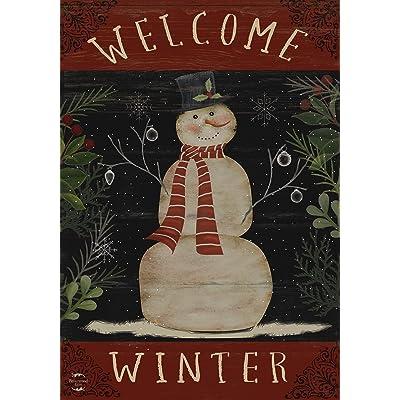 "Briarwood Lane Welcome Winter Snowman House Flag Primitive Seasonal 28"" x 40"": Home & Kitchen"