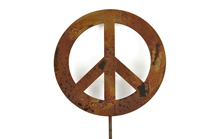 Metal Peace Sign Garden Stake, Size Small