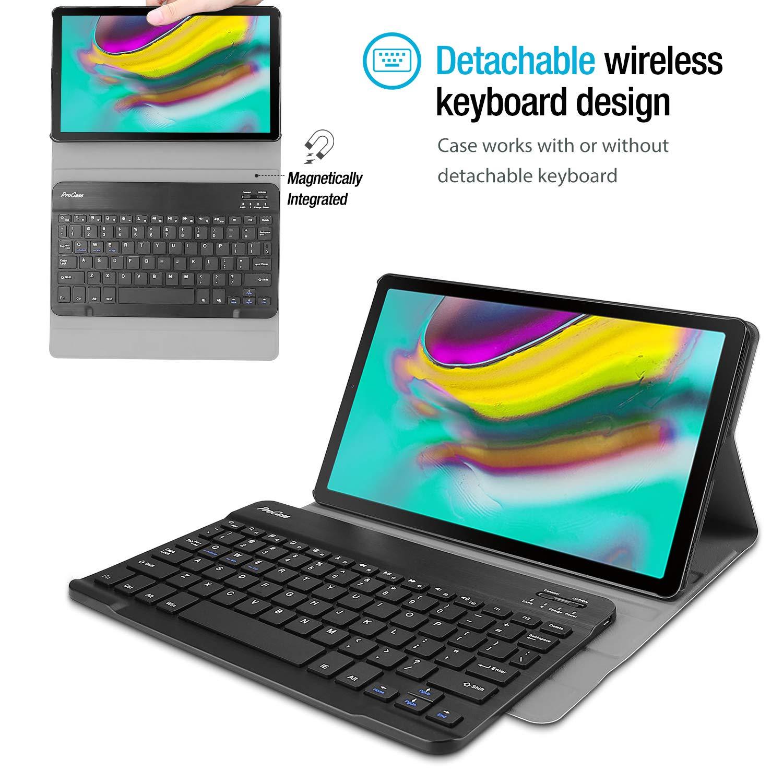 """Carcasa Delgada con Teclado Ingl/és Inal/ámbrico Desmontable para Galaxy Tab S5e 10.5/"""" SM-T720 Wi-Fi//SM-T725 LTE ProCase Funda con Teclado Americano para Galaxy Tab S5e 2019 T720 T725 Negro"""