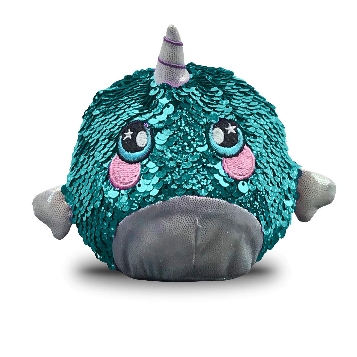Beverly Hills Teddy Bear Squeezamals Super-Squishy Foamed Stuffed Animals with Two-Sided Sequins Shelby Sparkle Narwhal