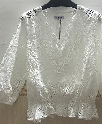 ZFFde Moda Sexy Top de encaje bordado con cuello en V de volantes suelta para la blusa de las mujeres (Color : White, tamaño : L): Amazon.es: Ropa y ...