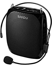 Portable Voice Amplifier SHIDU S258 10W Ultralight Rechargeable Mini Pa Speaker Supports MP3/TF/USB Professional Headset Microphone for Teachers Fitness Instructors and More