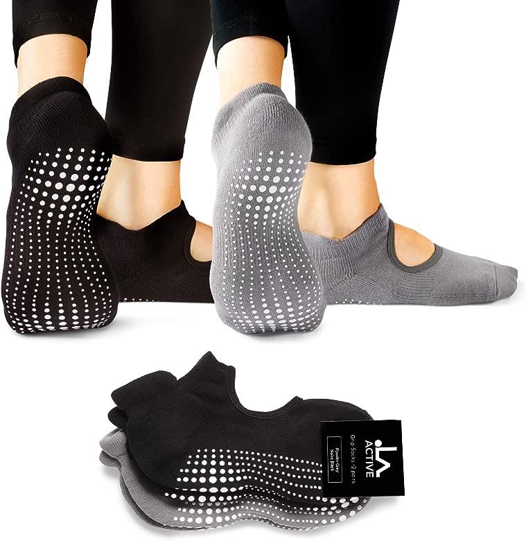 LA Active Calcetines Antideslizantes - Para Yoga Pilates Ballet Barre Mujer Hombre - Ballet