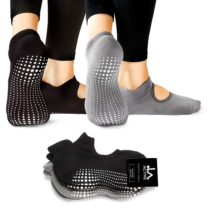 f3229dd82 LA Active Calcetines Antideslizantes - Para Yoga Pilates Ballet Barre Mujer  Hombre - Ballet (Gris