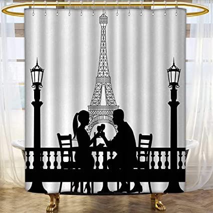 Anhounine Romantic Shower Curtains Mildew Resistant Couple Having A Dinner In Front Of The Eiffel