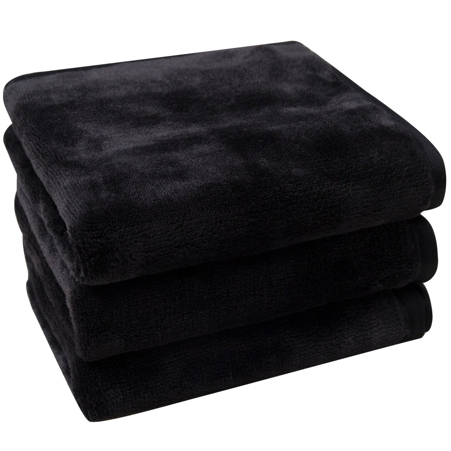 Lifaith Microfiber Makeup Removal Cloths Ultra Soft Facial Cloths, Pack Of 3, 12 x 12-Inch, Black
