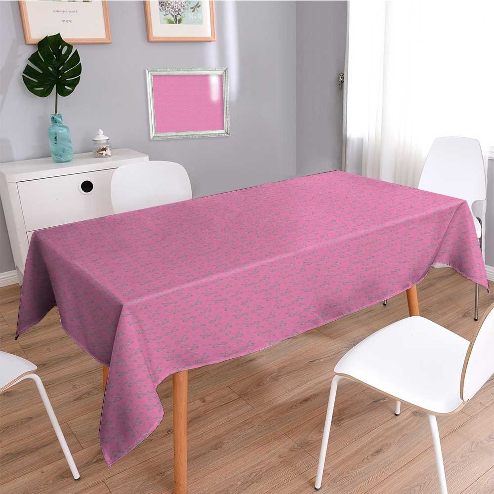 SCOCICI1588 Linen Water Resistant Tablecloth Ornamental Flower Leaves Design on Pink Backdrop Pink Grey Washable Table cloth Dinner Kitchen Home Decor-W52 x L52