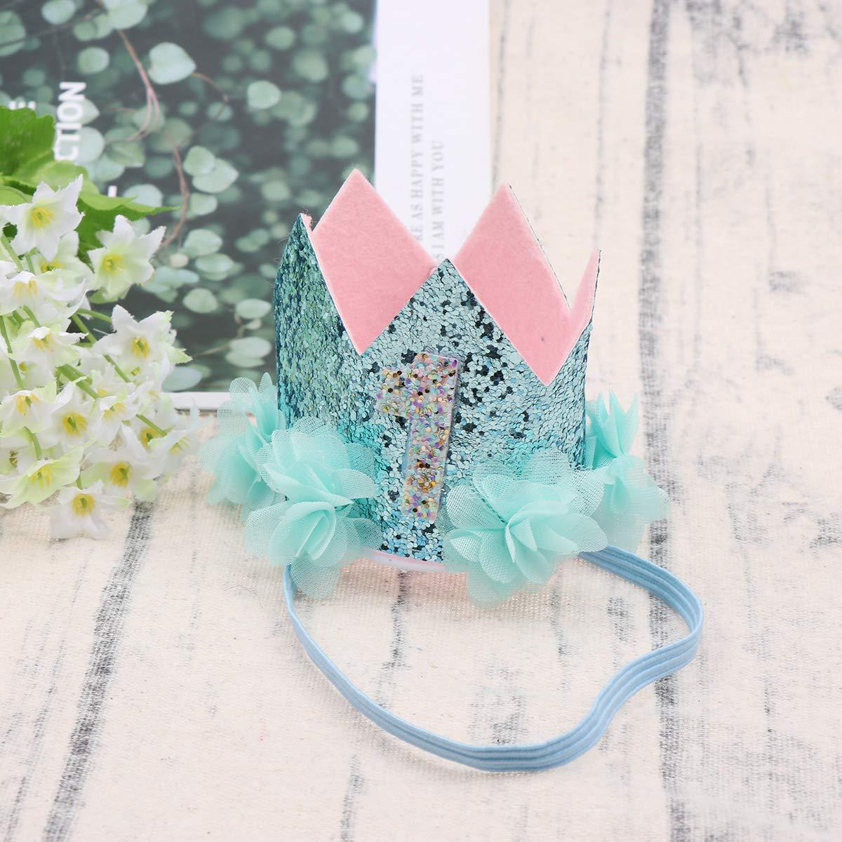 Beaupretty Baby Geburtstag Krone Stirnband gl/änzende elastische Glitzer Tiara Blume ersten Geburtstag Hut Stirnband f/ür Party Kost/üm Foto