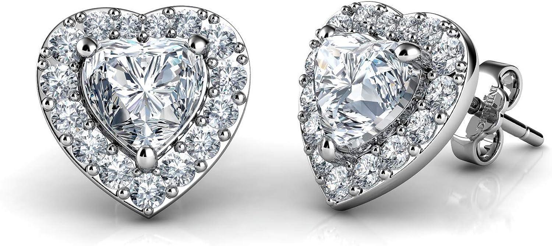 DEPHINI - Pendientes de plata de ley 925 con diseño de corazón blanco - Colgante de cristal de circonita cúbica - Joyería fina para mujer - Plata chapada en rodio - Circonita cúbica