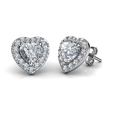 Sterling Silver Round 6MM Cubic Zirconia CZ Crystal Love Heart Stud Earrings