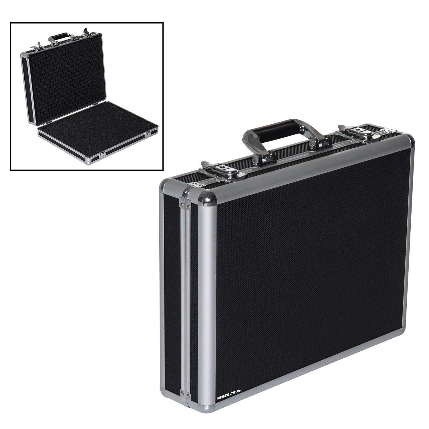 Selva Premium Aluminum Framed Gun Case Locking Storage Box - Black | for 4 Pistol Handgun Weapon | Approved Firearm Safety Container | Heavy Duty Light Weight with High Density Foam Padded Interior