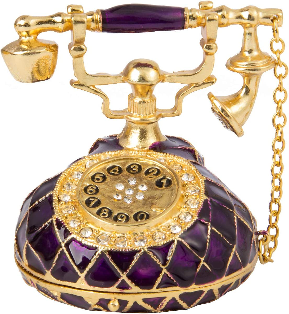 QIFU Vintage Hand Painted Purple Telephone Jewelry Trinket Box Hinged with Rich Enamel and Sparkling Rhinestones Unique Gift for Home Decor Best Ornament for Your Collection