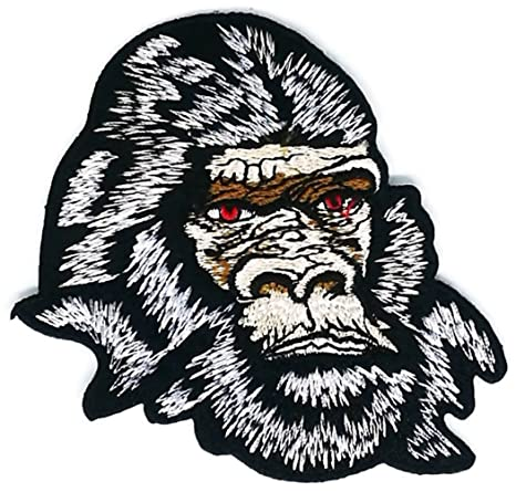 Gorilla mono cabeza Animal Wild Life Cartoon Iron on bordado Applique Craft hecho a mano bebé. Pasa ...