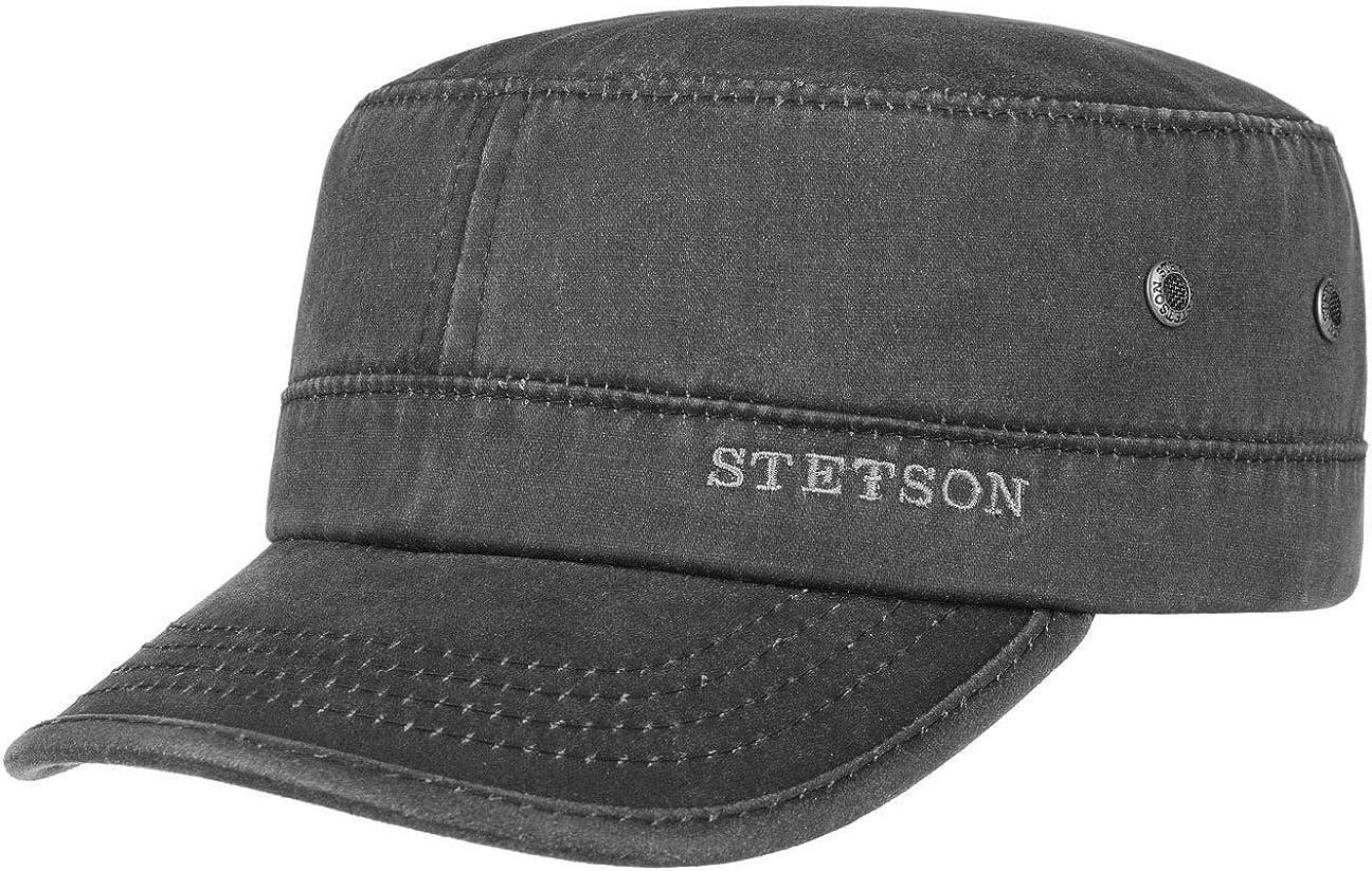 Stetson Datto Armycap Hombre - Algodón Impermeable - Invierno/Verano - Gorra Militar con protección Solar UV 40+ - Gorra Urbana - Imitación de Cuero Desgastado (Oilskin) - Army Cap