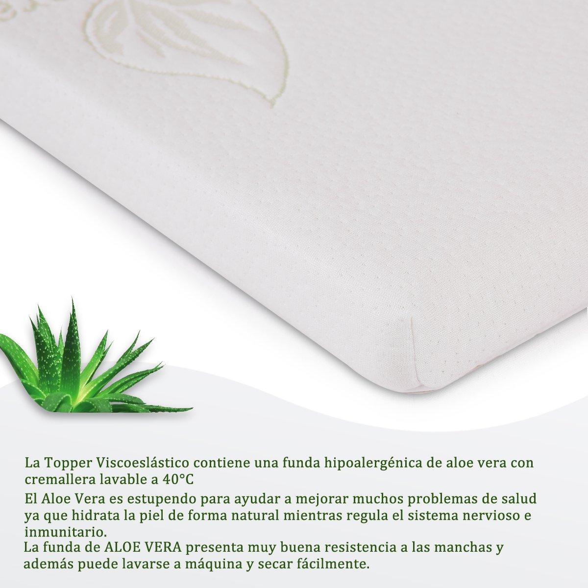 Cr Topper Viscoelástico con Efecto Memoria para Colchón 90 x 190 x 4 cm Protector de Colchón Funda Hipoalergénica Lavable de Aloe Vera Extraíble: Amazon.es: ...