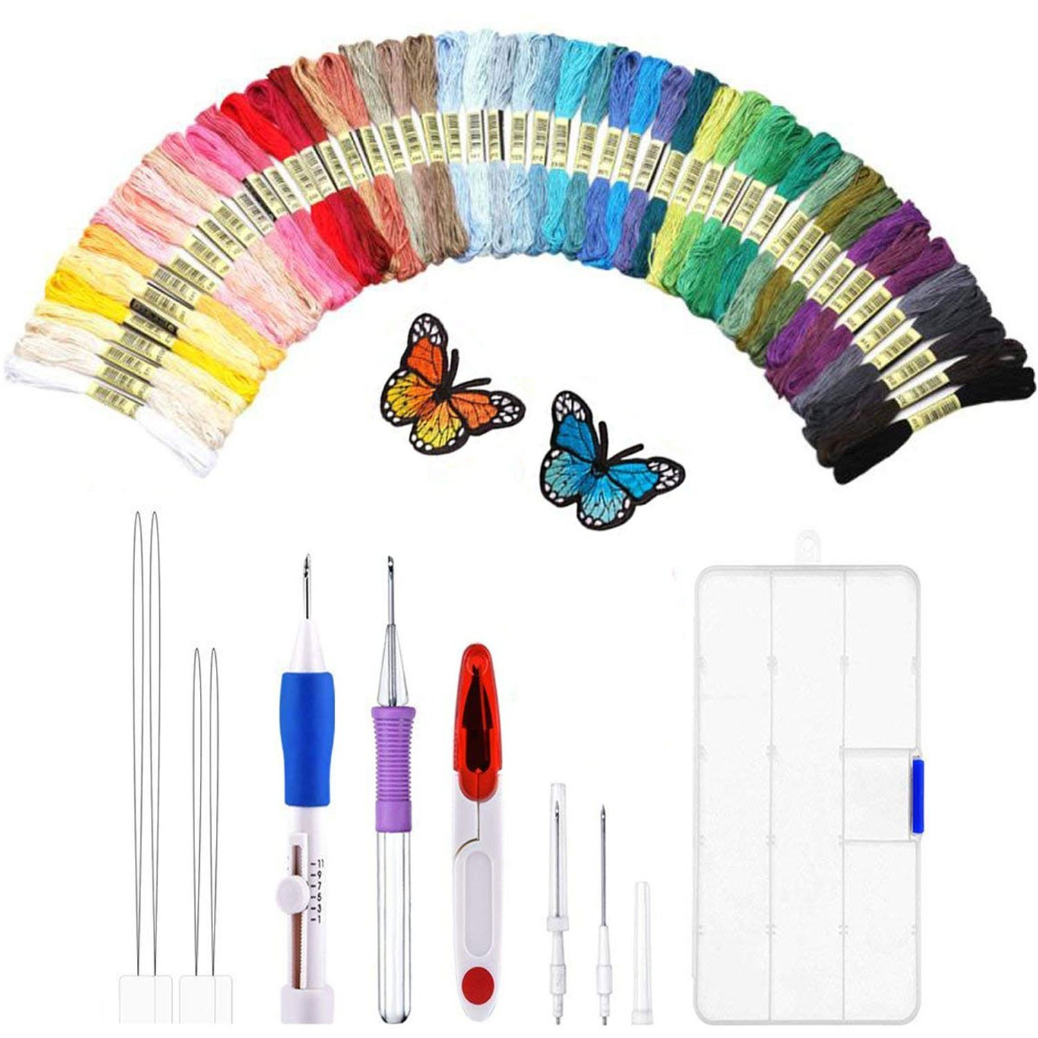 Magic Embroidery Pen Punch Needle, Embroidery Stitching Punch Kit Craft Tool Embroidery Pen Set, Including 50 Threads for Sewing Knitting DIY Threaders IU