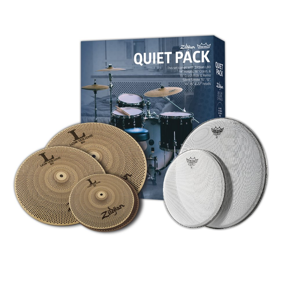 Zildjian L80 Low Volume Quiet Cymbal Pack with Remo Silentstroke Drumheads by Avedis Zildjian Company