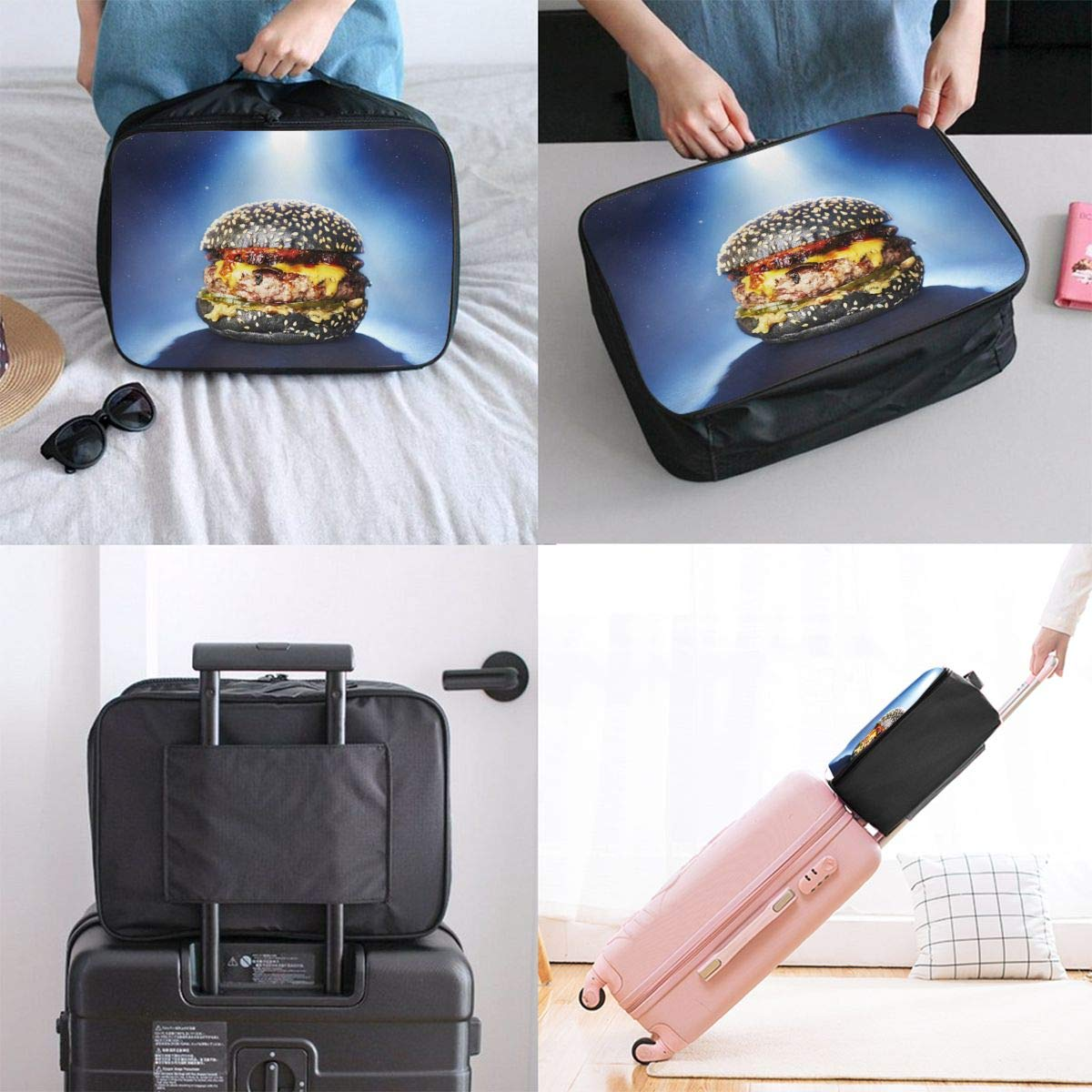Travel Luggage Duffle Bag Lightweight Portable Handbag Hamburger Large Capacity Waterproof Foldable Storage Tote