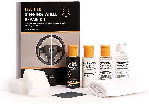Kit de reparación de Volante y Tinte de Cuero para Muebles de clínica (Negro) para reparación y restauración de Cualquier Volante de Piel