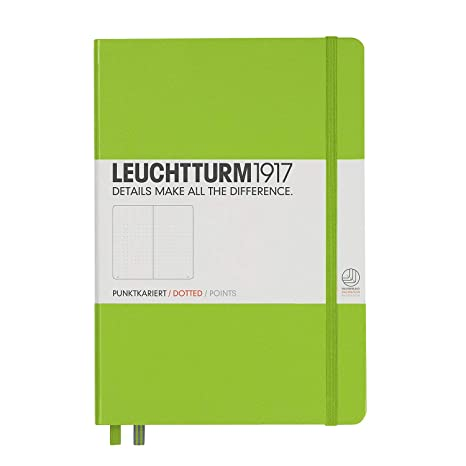 Leuchtturm1917 Medium A5 Dotted Hardcover Notebook (Lime) - 249 Numbered Pages