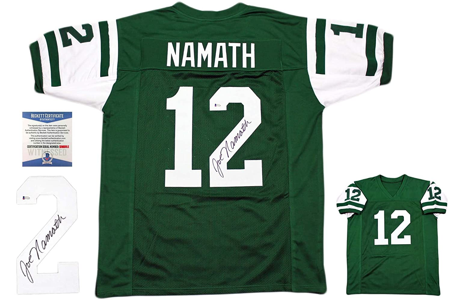 955d62a4 Joe Namath Autographed Signed Jersey - Beckett Authentic - Green at ...